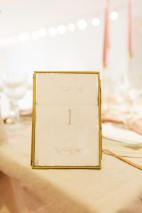 Tischnummer gold Hochzeitsdekoration
